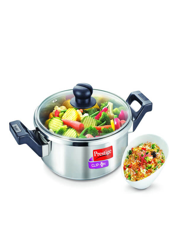 Prestige 3 Litre Clip On Series Stainless Steel Multi-Tasking Pressure Cookware