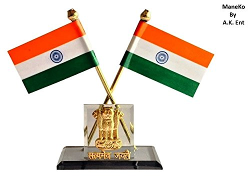Indian Flag with Satyamev Jayate Symbol for Car Dashboard & Official purpose