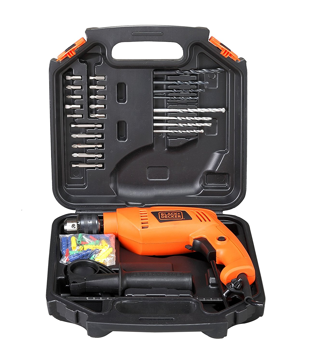 BLACK DECKER HD555KA50 13mm 550 Watt Impact Drill Kit (Orange, 75 Accessories)