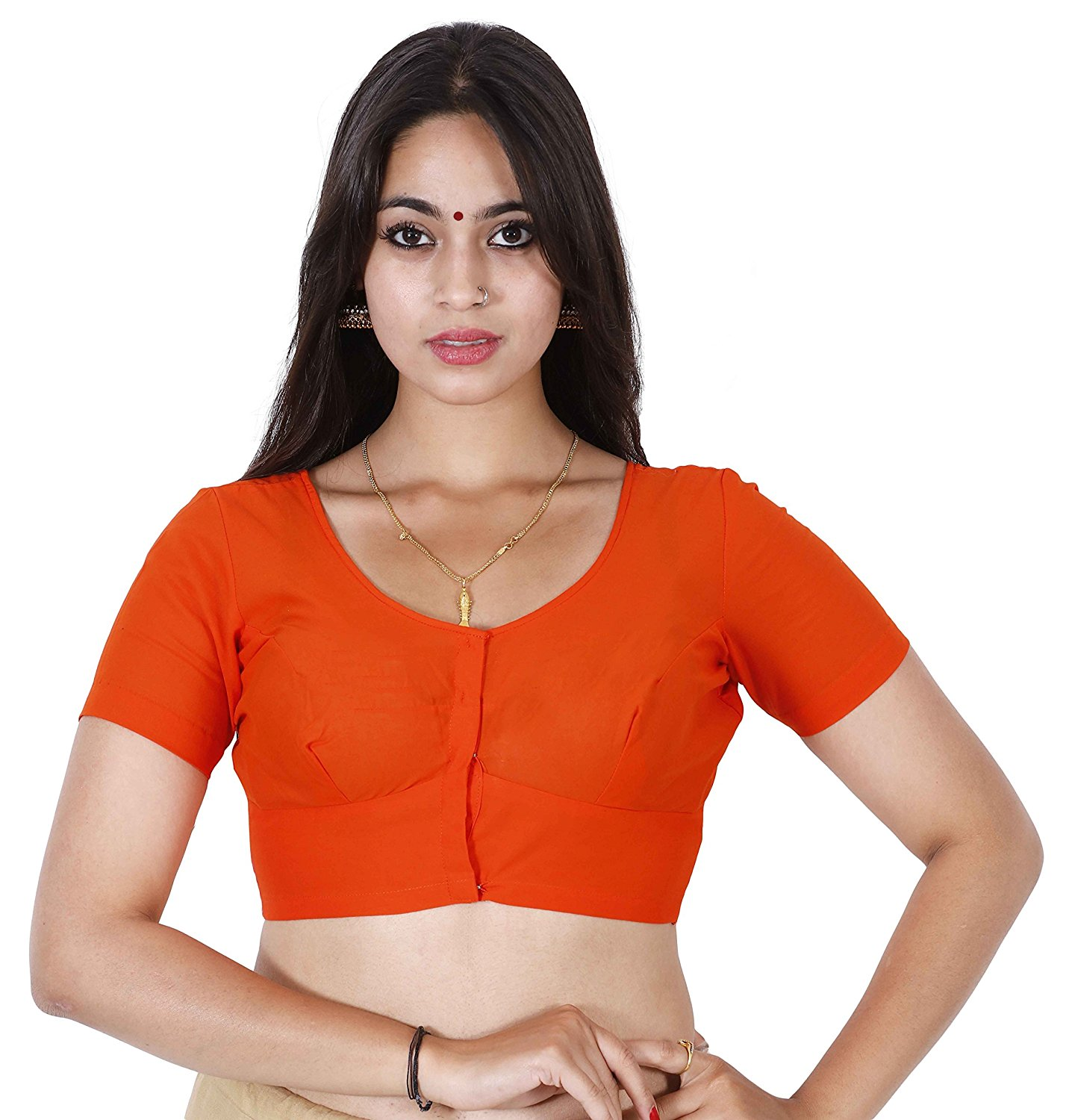 Stitched Orange Readymade 2by2 daily wear blouse