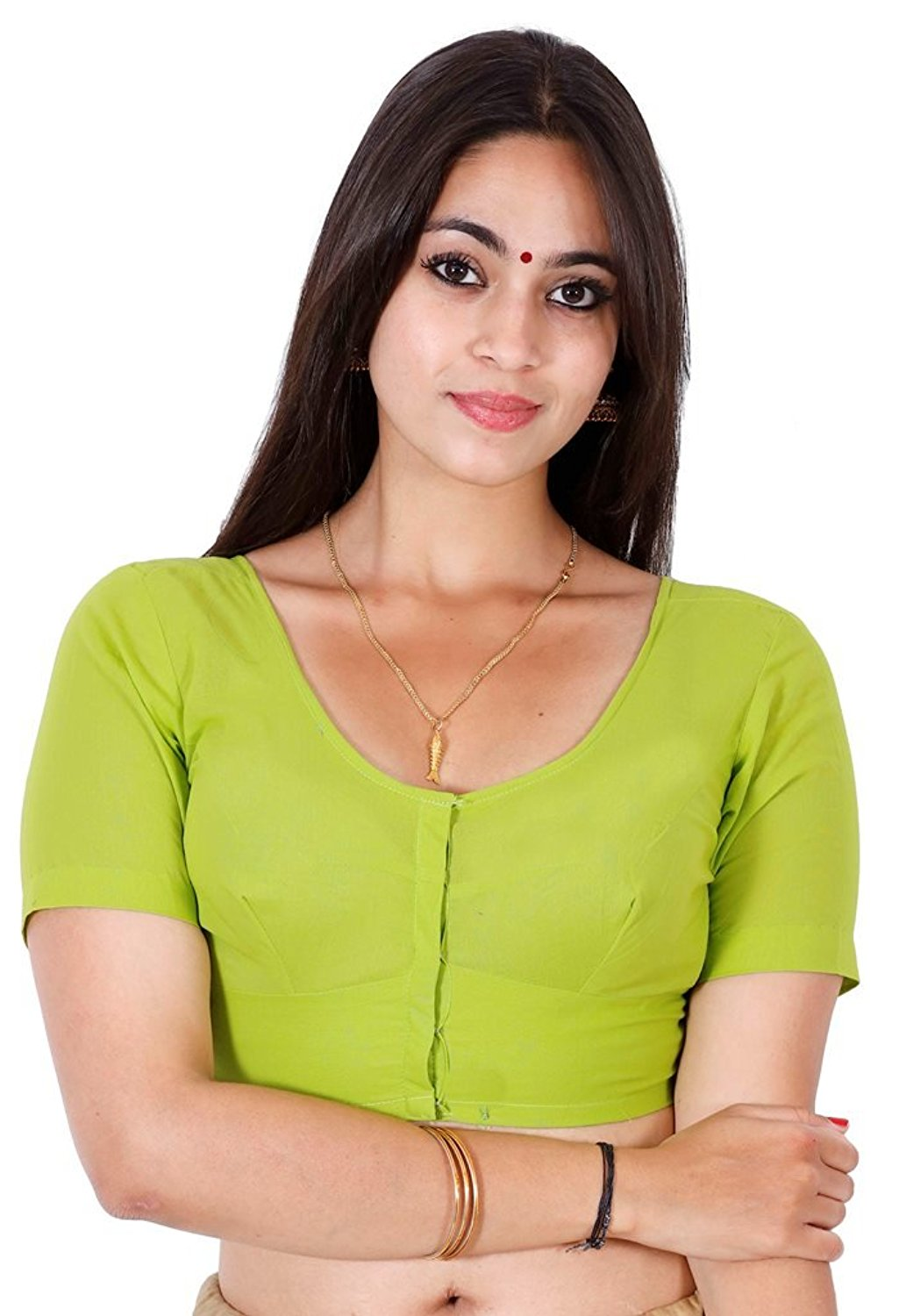 Stitched Lime Green Readymade 2by2 daily wear blouse