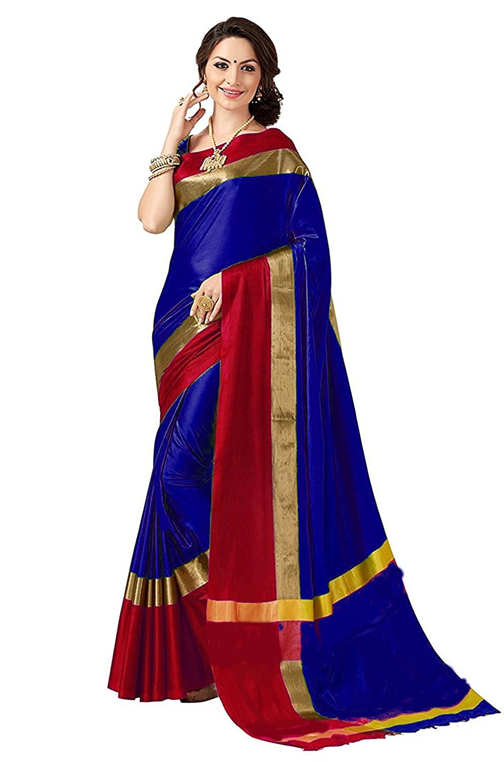 Womens Blue cotton Silk Saree With Blouse Piece