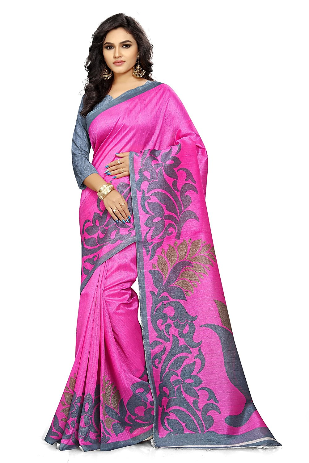Ginigold Womens Cotton Saree With Blouse Piece