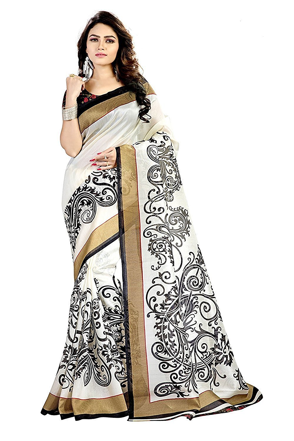Devpriya Fashion Womens Cotton Silk Saree With Blouse Piece