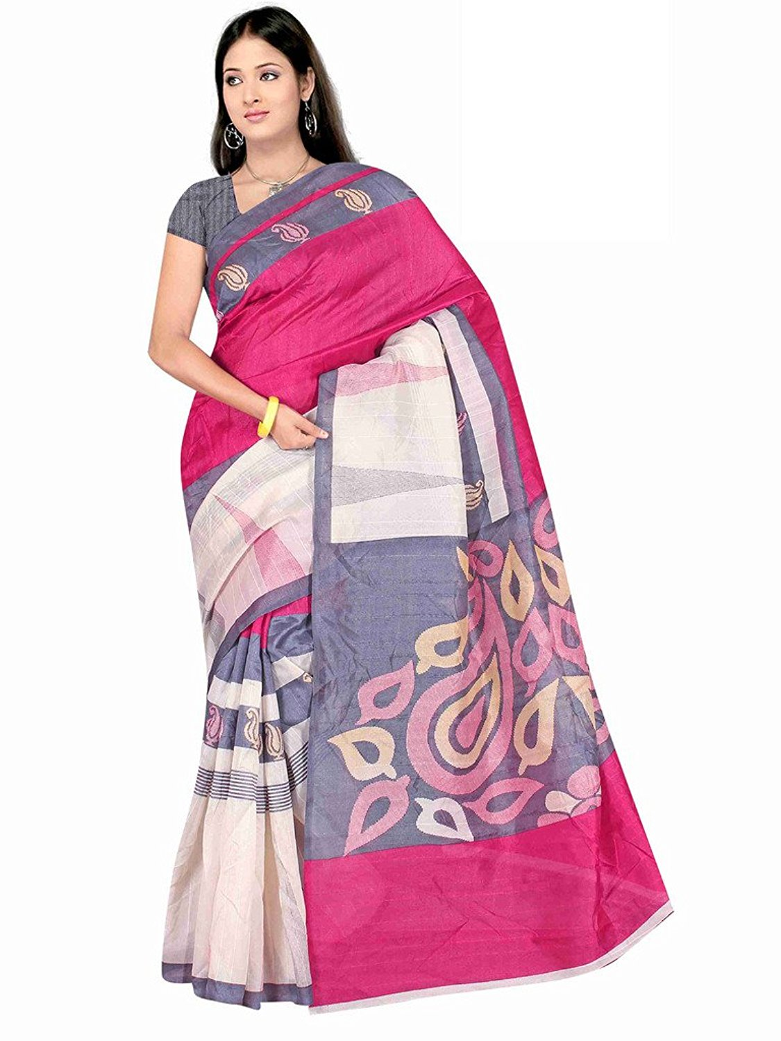 White and trendy pink Winza Womens Cottton Saree with Blouse