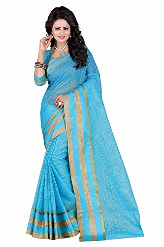 Kiranz Web Store Womens Sky Blue color Cotton silk Saree