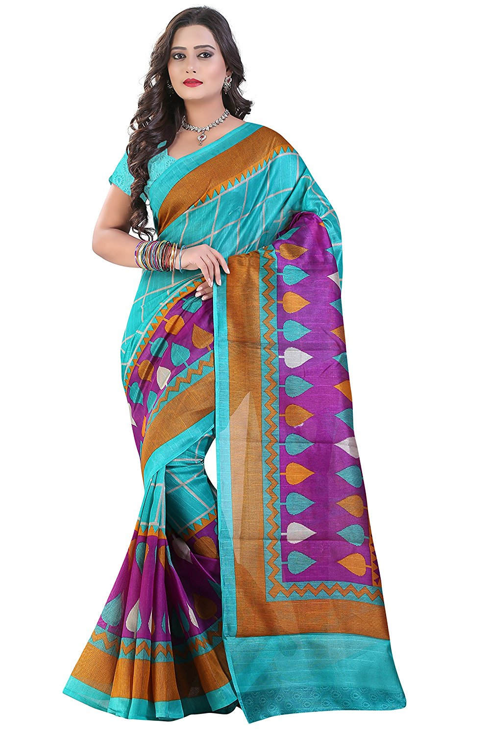 Glory Sarees Cotton Saree Blue And Purple