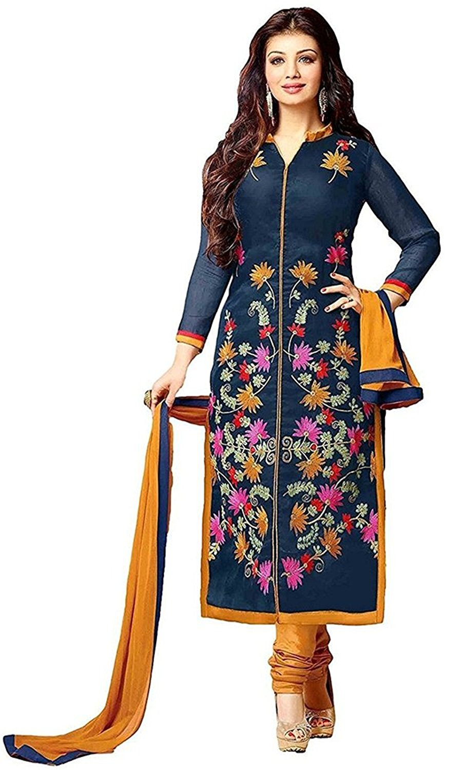 Women party wear Rensil Designer new top Dress Material Today offer buy in Low Price Sale Navy Blue Color Cotton Fabric Free Size Salwar Suit