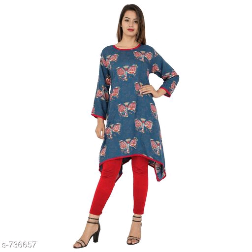 Trendy Printed Kurti Blue mafer